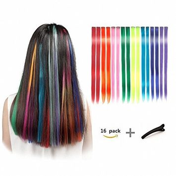 FESHFEN 20 Inch 16 Pcs 8 Colors Straight Clip in Hair Extensions Hair Accessories Hair Pieces for Kids Grils Long Colored Party Highlights DIY Hair Extensions [16 Pcs 8 Colors, Straight]