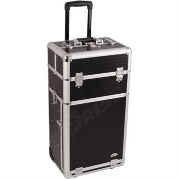 Black Crocodile Textured Professional Rolling Makeup Case with Drawers