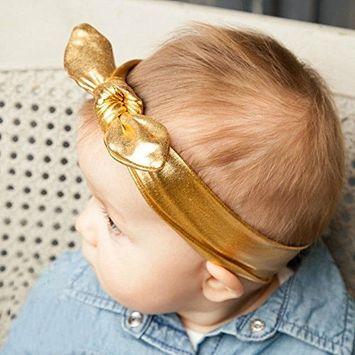 AKOAK New Fashion Children Metallic Messy Big Bow baby Girls Elasticity Headband Baby kids Cloth Turban Knot Hairband Wrap(1pc,G