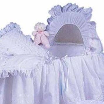 Babydoll Little Angel Bassinet Liner/Skirt & Hood, Blue Ribbon, 16