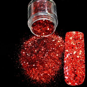 Red Glitter Nail Art Tool DIY Glitter Mix Manicure 3D Acrylic Powder Small Pentagon Sequins Nail Supplies Decoration Sheets 271