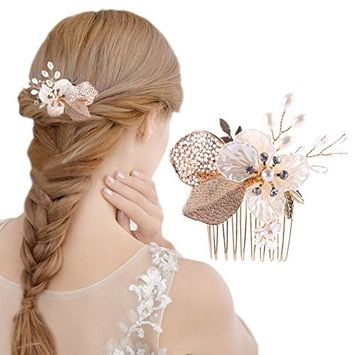 Oshide Bridal Headpiece Wedding Hair Accessories Clips Pearls Crystal Clip-in-Pin Comb Handmade with Bead and Rhinestones