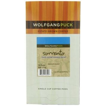 Wolfgang Puck Coffee, Sorrento Swiss Water Process Decaf Blend, 9.5 Gram Pods, 18-Count (Pack of 3)