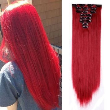 Clip in Hair Extensions Synthetic Full Head Charming Hairpieces Thick Long Straight 8pcs 18clips for Women Girls Lady (23 inches-straight, dark red)
