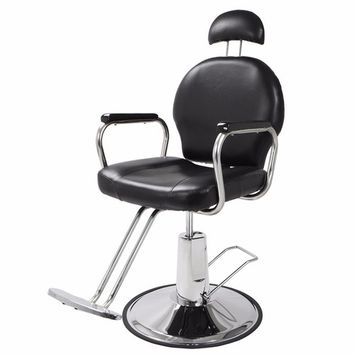 Zimtown Reclining Hydraulic Barber Chair, Heavy Duty Classic All Purpose Barbershop Black Chair with Headrest, Salon Styling Beauty Spa Shampoo Equipment, 360 Degree Swivel