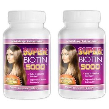 Super Biotin 5000 Maximum Strength For Hair Growth, Skin, and Nails 60 Capsules Per Bottle (2 bottles)