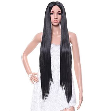 Pretty See Black Wig Long Straight Hair 39 inch for Cosplay, Costume Party or Daily Use Free Wig Cap, Wig Comb and Clips