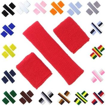 Sweatband 3-Piece Set – (1) headband, (2) Wirstbands, Colorful Soft Absorbant Elastic Terry Cloth