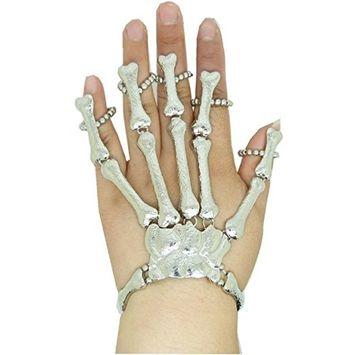 Vovotrade Retro Punk Gothic Bones Skull Skeleton Hand Ring Bracelet Slave Cuff