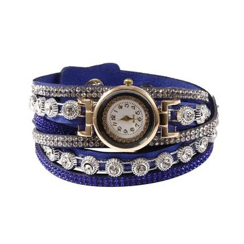 Unbrand - Women Fashion Casual Decor Round Rhinestone Bracelet Watch TOYS2 [name: actual_color value: actual_color-skyblue]