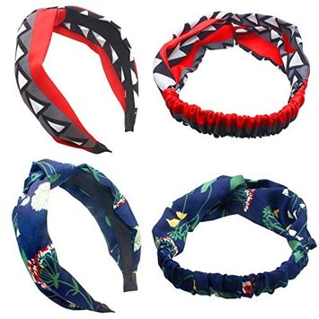 Fashion & Lifestyle Soft Satin Fabric Headbands Hairbands Set of 4 - Stretchy Elastic Head Bands Hair Hoops Wraps Headwraps Headwear Accessory for Women Girls