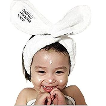 1PC White Lovely Cute Sweet Headbands Hair Wrap Bunny Rabbit Ear Hair Accessory For Baby Girl For Makeup or Wash Face