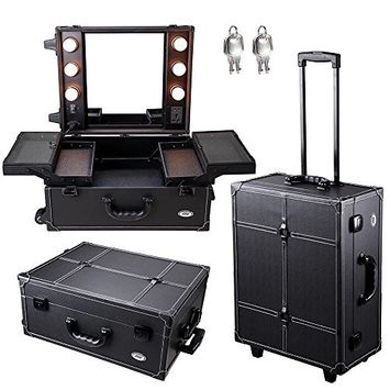 GHP Black Rolling Cosmetic Makeup Case with 6 40W Warm Light Bulbs & Top Cover Mirror