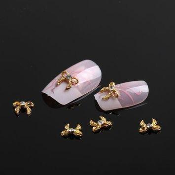 350buy 10x 3D Nail Art Gold Alloy Rhinestones Bow Tie Glitters Sticker DIY Decoration