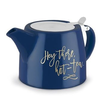 Pinky Up Cute Teapot, Blue Elegant Ceramic Small Decorative Teapot With Infuser