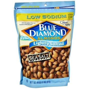 Blue Diamond Lightly Salted Sea Salt Low Sodium Almonds,16 oz (pack of 2)