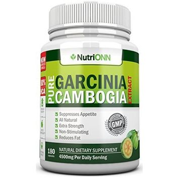 80% HCA PURE GARCINIA CAMBOGIA EXTRACT- 4500MG/Day - 180 Capsules - 3rd Party Tested!!! - 100% Natural Appetite Suppressant - Certified Super Strenght - ★WEIGHT LOSS GUARANTEED ★ FREE BONUS EBOOK!