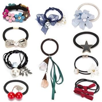 HY Fancy 7pc/10pc Stylish Stretch Hair Ties of Comfortable Elastic Cotton. These Cute Luxurious Hair Band Ponytail Holders are the Favorite Headband Scrunchie for Women and Girls