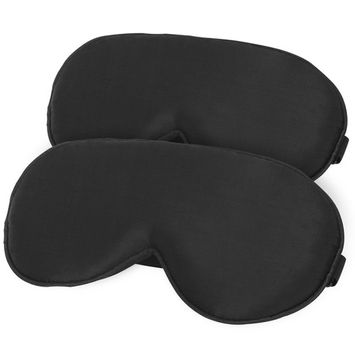 Thanger 100% Natural Silk Sleep Mask Blindfold for Men and Women, Comfortable and Super Soft Mulberry Eye Mask with Adjustable Strap, Ultimate Sleeping Aid, Blocks Light, 2-Pack