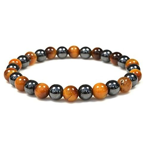 Men Women Fashion Jewelry Hematite Tiger Eyes Magnetic Therapy Stretch Bracelets