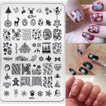 Voberry Christmas Pattern DIY Nail Art Image Stamp Stamping Plates Manicure Template