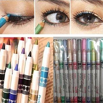 DZT1968 12PCS 15cm Women Waterproof Glitter Lip liner Eye Shadow Eyeliner Pen Mousse Makeup Cosmetic Sets 12 Colors