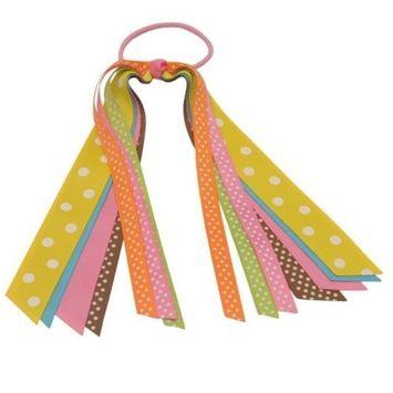 Girls Pastel Multi Color Polka Dotted Tie Streamer Ponytail Holder