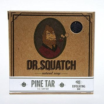 Dr. Squatch Pine Tar Soap – Mens Soap with Natural Woodsy Scent and Skin Scrub Exfoliation – Black Soap Bar Handmade with Pine Tar, Olive, Coconut Organic Oils in USA [#1 Pine Tar]