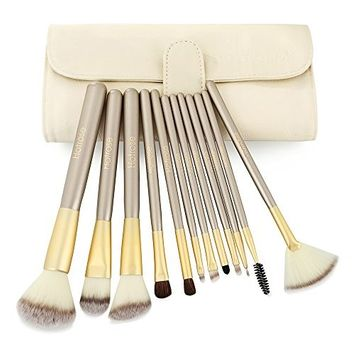 Hotrose 12pcs Pro Cosmetic Makeup Brushes - Powder Foundation Blush Eyeshadow Eyeliner Face Makeup Brush Set + Beige Leather Bag