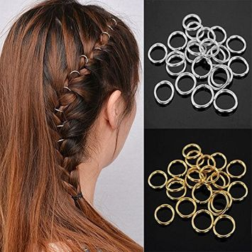 80 Pieces Hair Clip Rings Decorations, Braid Hair Loop Headband Accessories, Gold/Sliver