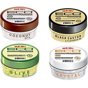 Eco Styling Gel 3 oz. Variety Set :Olive Oil, Flaxseed Oil, Coconut Oil, Krystal
