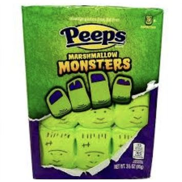 Halloween Candy Exclusive! Peeps Marshmallow Monsters, Ghosts, Or Pumpkins! Delicious, Soft, And Chewy! 3.375 Oz Package! Pack Of 1! Always Gluten Free, Fat Free! (Monsters)