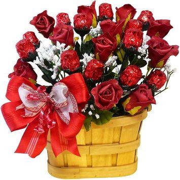 Sweetheart 1 Dozen Chocolate Rose Candy Bouquet Gift Basket