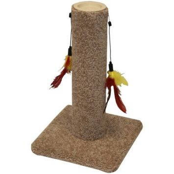 Classy Kitty Carpeted Cat Post with Toy Feather, 10.5