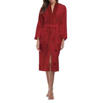 Skylinewears Women's 100% Terry Cotton Bathrobe Toweling Robe Wine XXL
