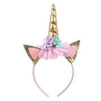 ChainSee Girls Unicorn Headband Gold Hair Clasp Flowers Party Headdress Decorative Headwear (G