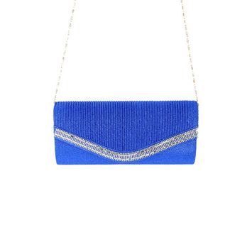 Womens Rhinestone Envelope Party Chain Bag Clutch Handbag ME0004-Blue