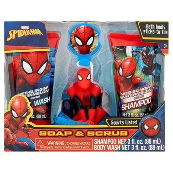 Marvel Spiderman Soap & Scrub Shampoo and Body Wash Bath Set, 4pcs
