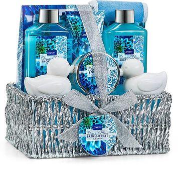 Spa Gift Basket in Heavenly Ocean Bliss Scent - 9 Piece Bath & Body Set With Shower Gel, Bubble Bath, Bath Salt, Body Lotion & more! Great Wedding, Anniversary, Birthday or Graduation Gift for Women