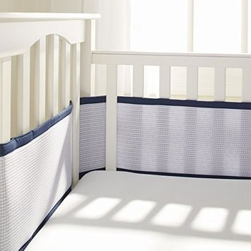 BreathableBaby Deluxe Breathable Mesh Crib Liner - Navy Cable Weave [Cable Weave]