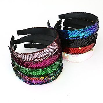 IDS 8PCS Wide Beautiful Hard Headbands,Mermaid Sequin Sparkly Glitter Wide Headband for Women and Girls
