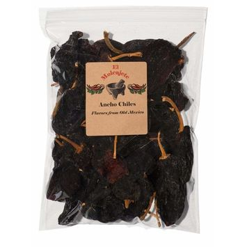 Dried Ancho Chiles El Molcajete Brand 5 oz Resealable Bag ‐ Mexican Recipes, Chilis Tamales, Salsa, Chili, Meats, Soups, Mole, Stews & BBQ