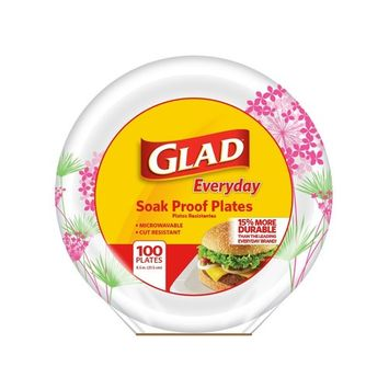 Glad Round Disposable Paper Plates for All Occasions | Soak Proof, Cut Proof, Microwaveable, 8.5