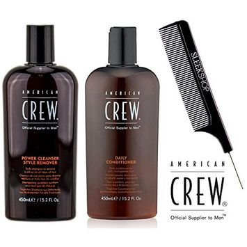 American Crew POWER CLEANSER Style Remover Shampoo & DAILY Conditioner DUO Set (with Sleek Steel Pin Tail Comb)