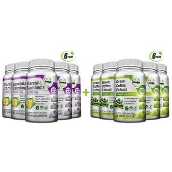 Pure Green Coffee Bean Extract + Pure Garcinia Cambogia Extract - Weight Loss Bundle - 120 Veggie Capsules - Gluten Free - Non GMO