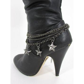 Women Bracelet Boots Chain Fashion Strap Silver Metal Shoe Texas Stars Charm