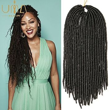 UNA Faux Locs Crochet Hair Braids Wavy Synthetic Hair Extensions Fauxlocs Fiber Braiding Hair Afro Kinky Soft Dread Dreadlocks (20Inches 4Piece, 1B)