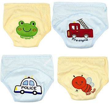 Adorable Toddler Potty Training Pants for Baby Boys and Girls,Size for 9 Months to 3 Years,Pure Cotton,4 Pack (9-12Months, B)