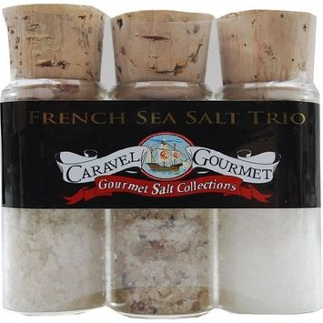 The French Sea Salt Mini Trio Sampler Set - Fleur de Sel, Garden Blend, French Grey - Flavors of France, Perfect for French Cooking - Gluten-Free, No MSG, Non-GMO - 2.1 ounces [French]