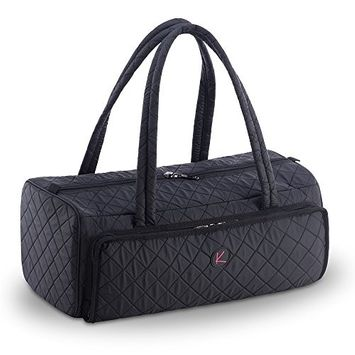 Quilted Tote Shoulder Beauty Bag With Brush Storage Pocket Ideal for Cosmetic Bottles Brushes Acessorries